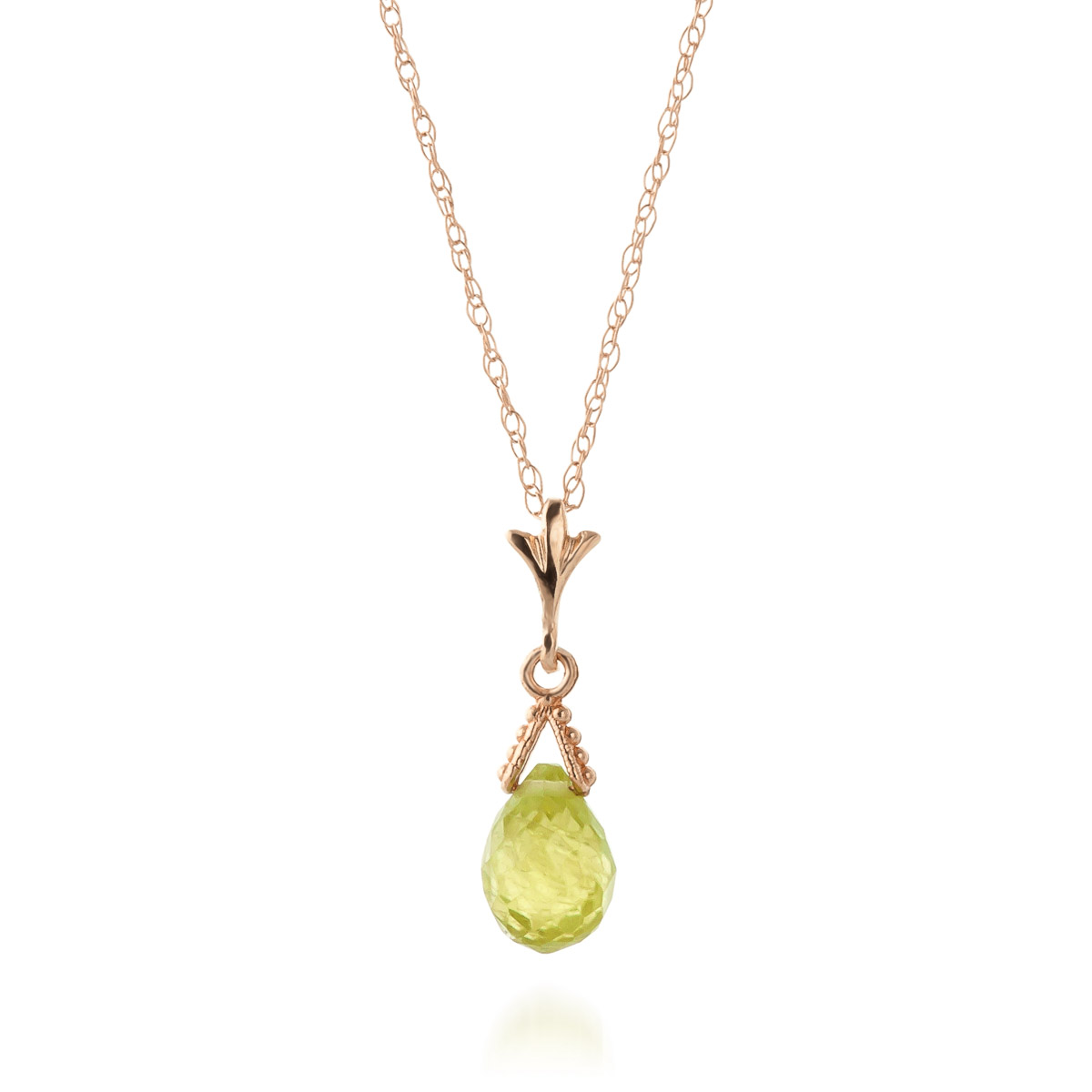 Peridot Droplet Briolette Pendant Necklace 2.5ct in 14K Rose Gold