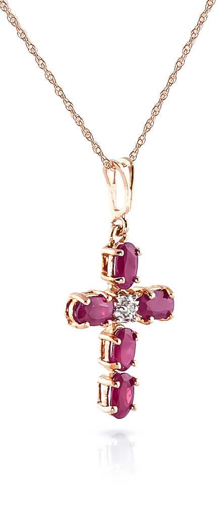 Ruby and Diamond Rio Cross Pendant Necklace 1.73ctw in 9ct Rose Gold
