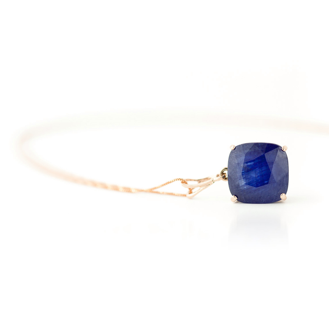 Sapphire Rococo Pendant Necklace 4.83ct in 9ct Rose Gold