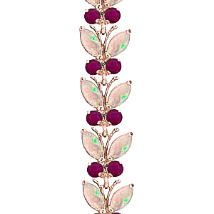 Opal and Ruby Butterfly Bracelet 12.0ctw in 9ct Rose Gold