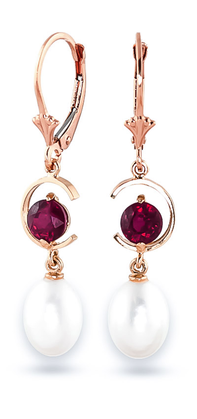 Pearl and Ruby Drop Earrings 9.0ctw in 14K Rose Gold