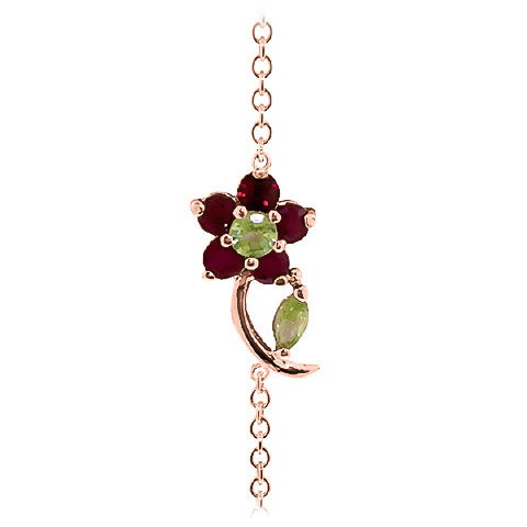 Peridot and Ruby Adjustable Flower Petal Bracelet 0.87ctw in 9ct Rose Gold