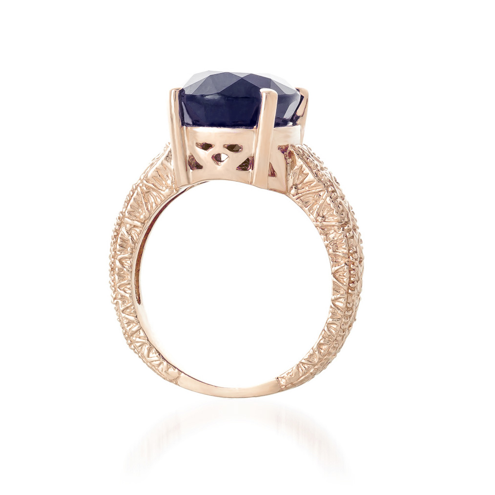 Oval Cut Sapphire Ring in 9ct Rose Gold
