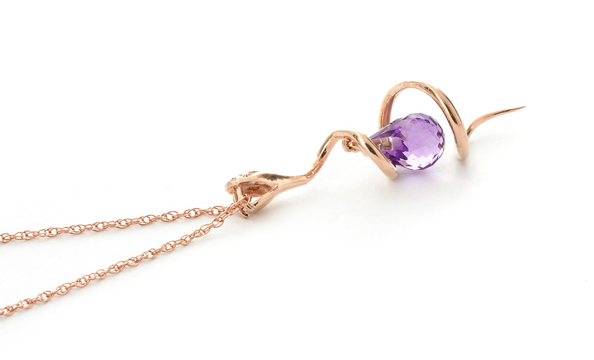 Amethyst and Diamond Serpent Pendant Necklace 2.25ct in 14K Rose Gold