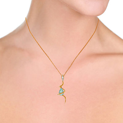 Blue Topaz and Diamond Serpent Pendant Necklace 2.25ct in 14K Rose Gold