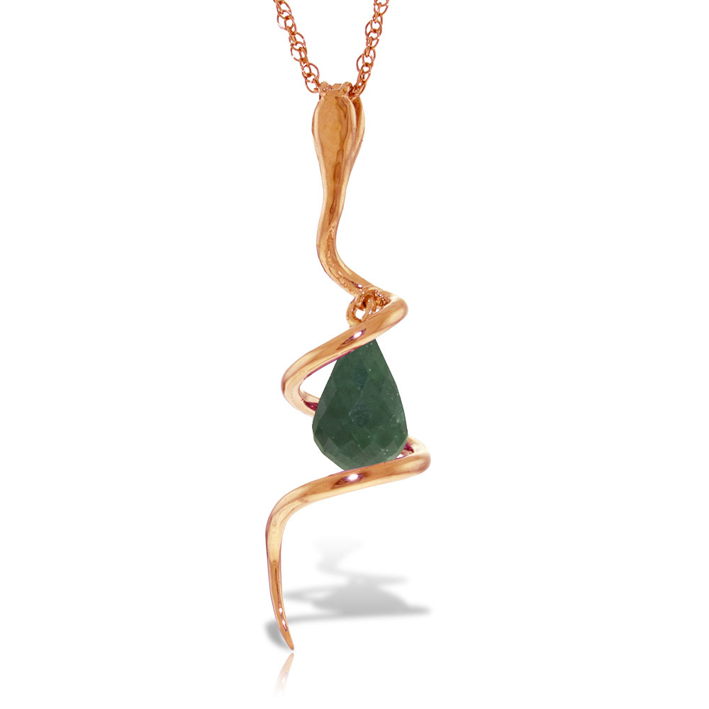 Emerald and Diamond Serpent Pendant Necklace 3.3ct in 9ct Rose Gold