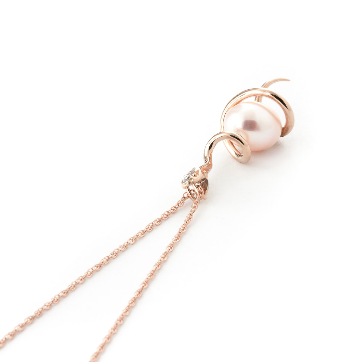 Pearl and Diamond Serpent Pendant Necklace 4.0ct in 9ct Rose Gold