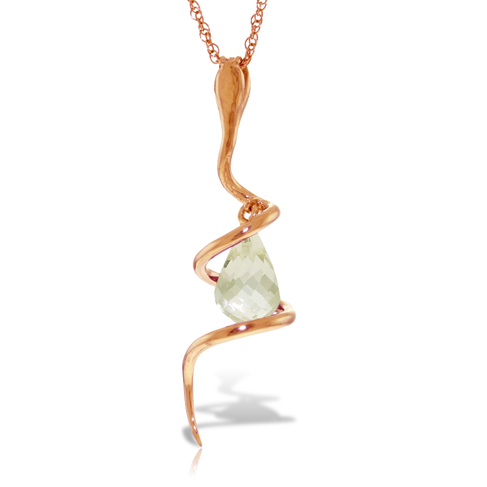 White Topaz and Diamond Serpent Pendant Necklace 2.25ct in 14K Rose Gold