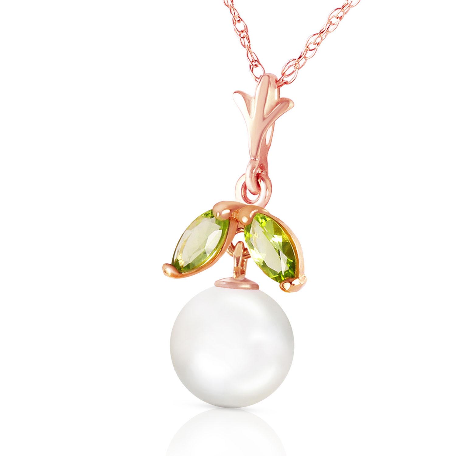 Pearl and Peridot Snowdrop Pendant Necklace 2.2ctw in 14K Rose Gold