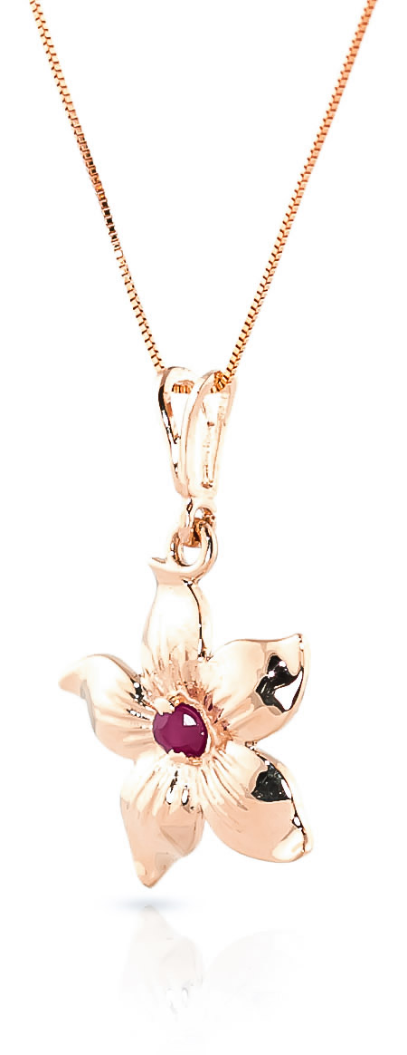 Ruby Flower Star Pendant Necklace 0.1ct in 14K Rose Gold