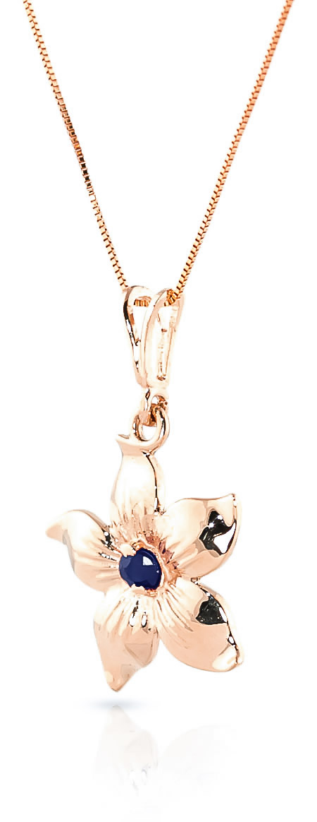 Sapphire Flower Star Pendant Necklace 0.1ct in 14K Rose Gold