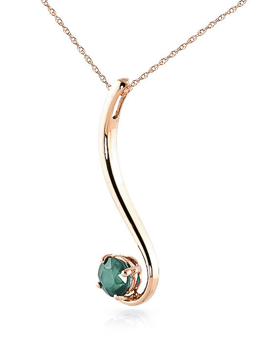 Round Brilliant Cut Emerald Pendant Necklace 0.55ct in 14K Rose Gold