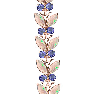 Opal and Tanzanite Butterfly Bracelet 10.5ctw in 14K Rose Gold