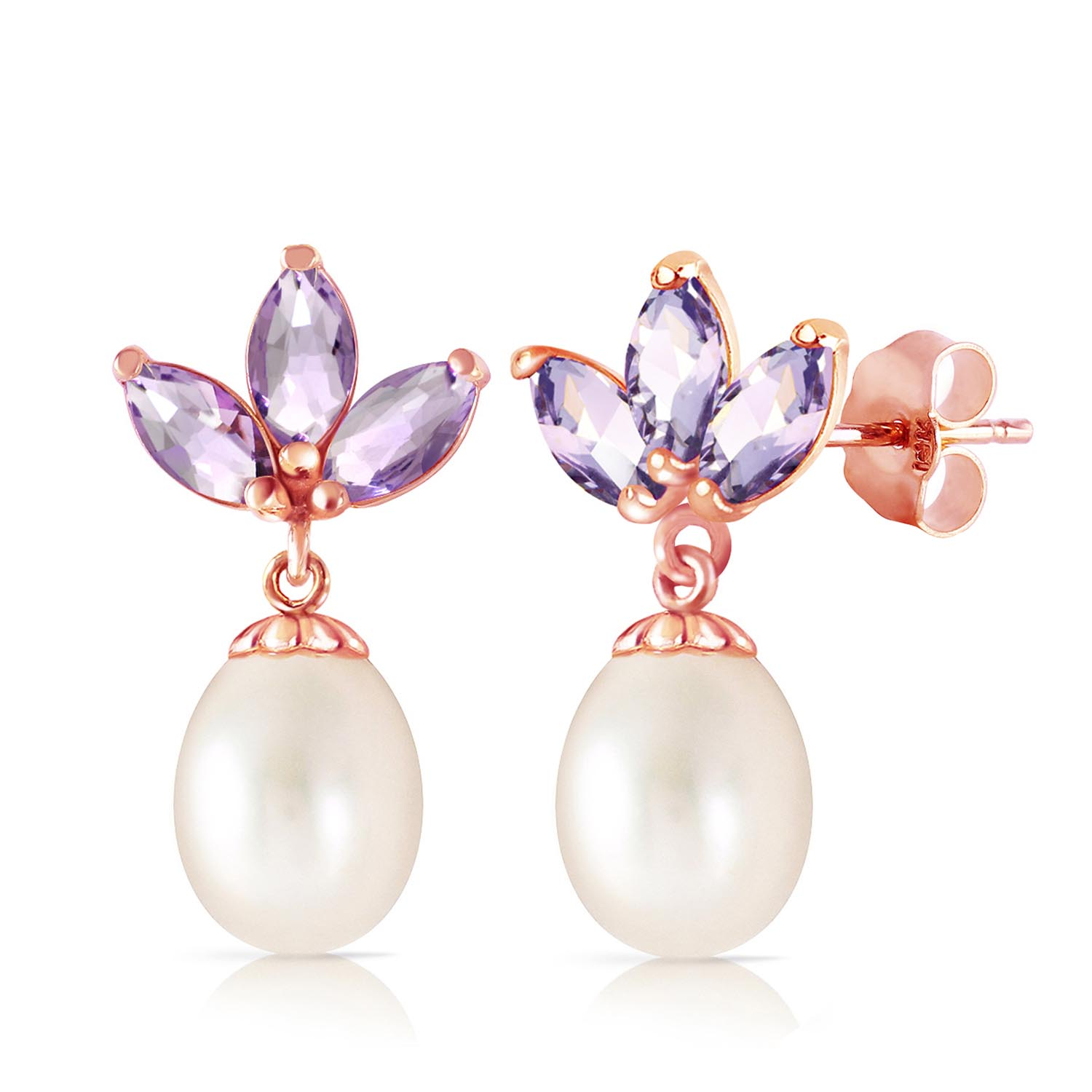 Pearl and Tanzanite Petal Drop Earrings 9.5ctw in 9ct Rose Gold