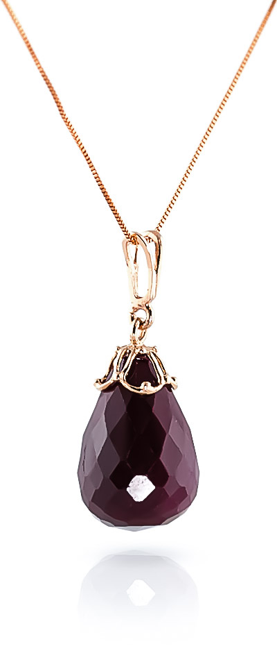 Ruby Tiara Briolette Pendant Necklace 14.8ct in 9ct Rose Gold