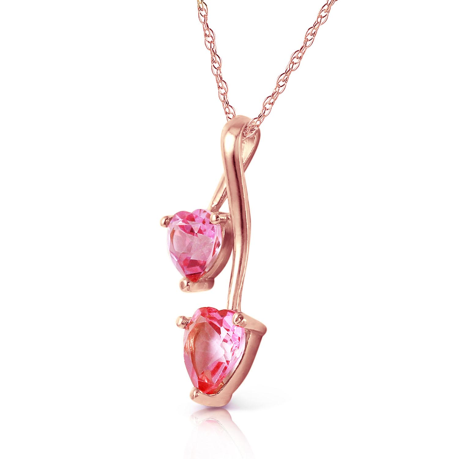 Pink Topaz Twin Heart Pendant Necklace 1.4ctw in 14K Rose Gold