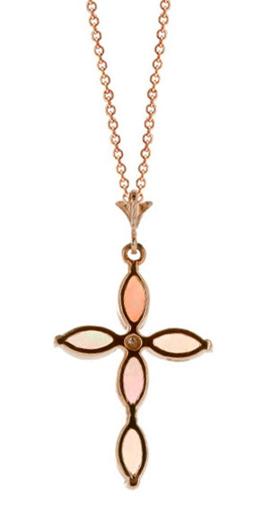 Opal and Diamond Vatican Cross Pendant Necklace 0.67ctw in 9ct Rose Gold