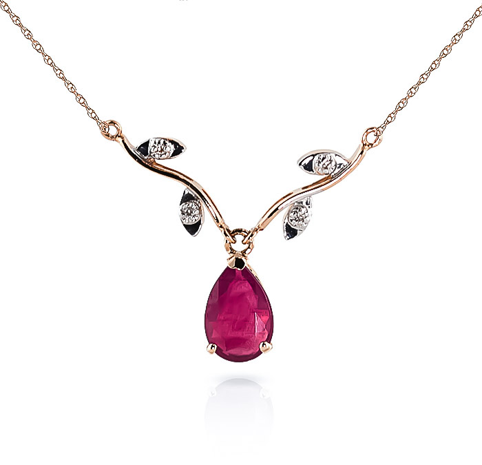 Ruby and Diamond Vine Branch Pendant Necklace 1.5ct in 14K Rose Gold