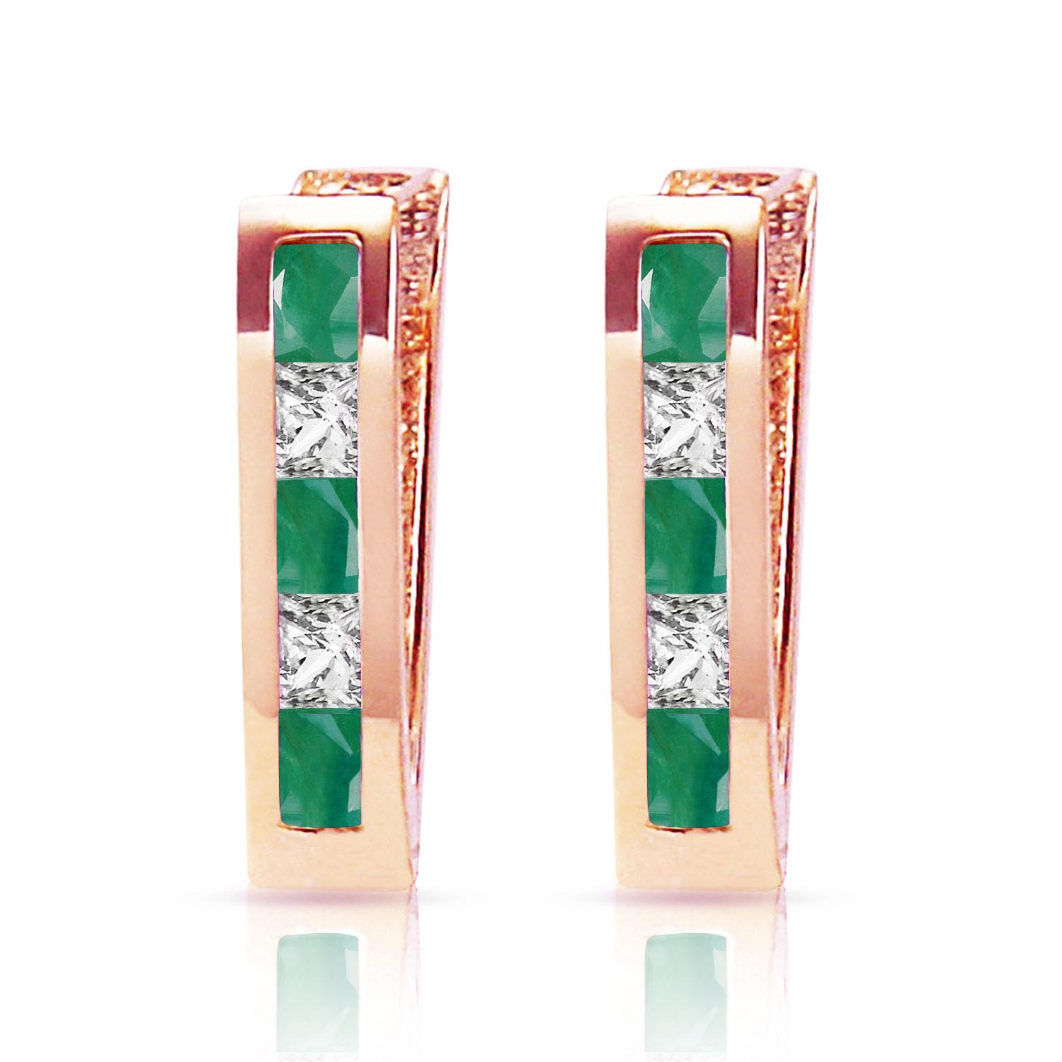 Emerald and White Topaz Acute Huggie Earrings 1.26ctw in 9ct Rose Gold
