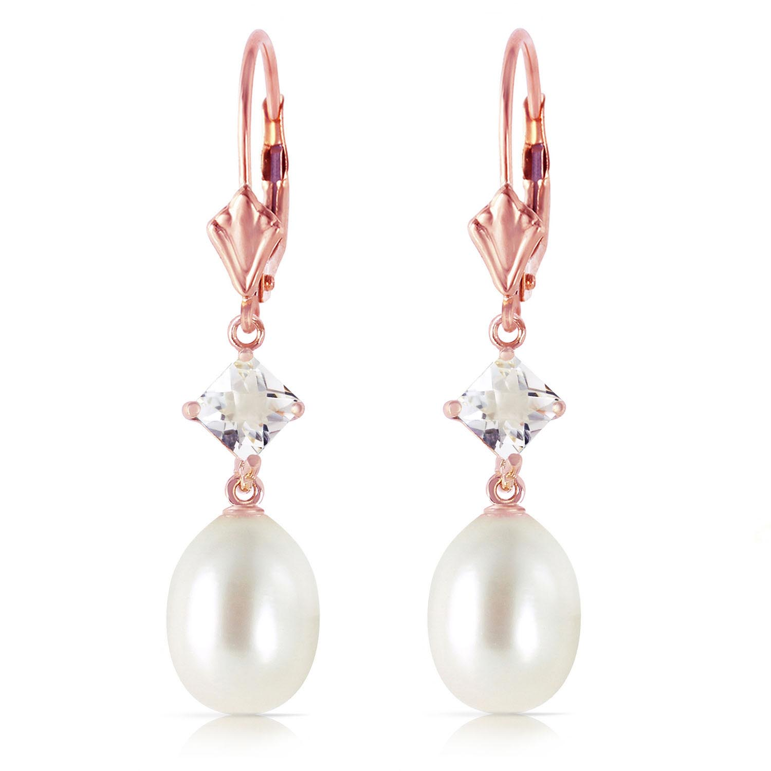 Pearl and White Topaz Drop Earrings 9.0ctw in 14K Rose Gold