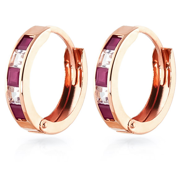Ruby and White Topaz Huggie Earrings 1.26ctw in 14K Rose Gold