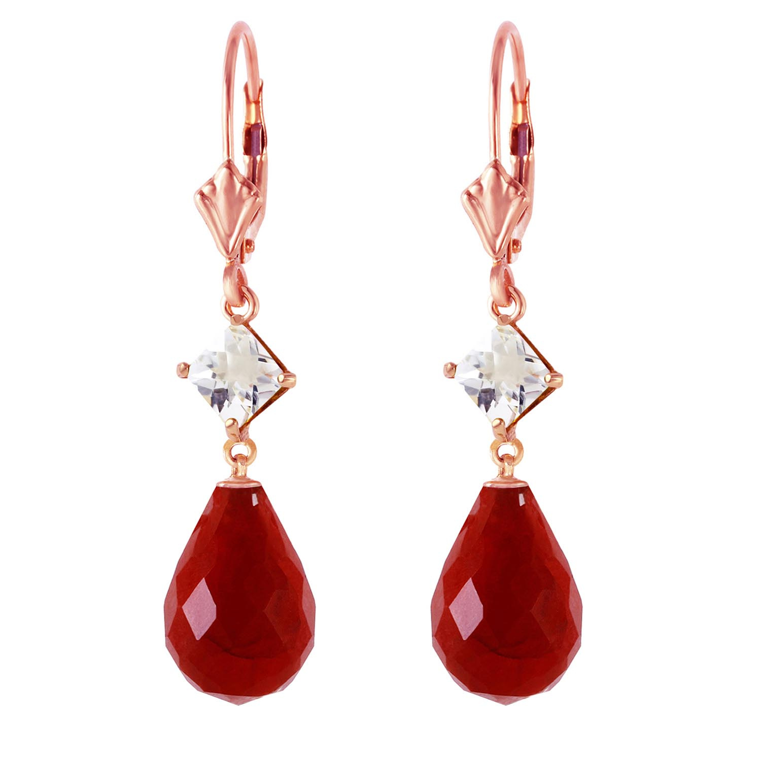 Ruby and White Topaz Drop Earrings 18.6ctw in 14K Rose Gold