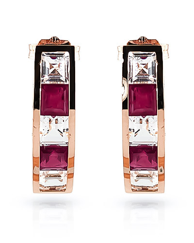 Ruby and White Topaz Channel Set Stud Earrings 4.7ctw in 14K Rose Gold
