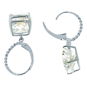 Sterling Silver 7.20ct White Topaz Leverback Earrings
