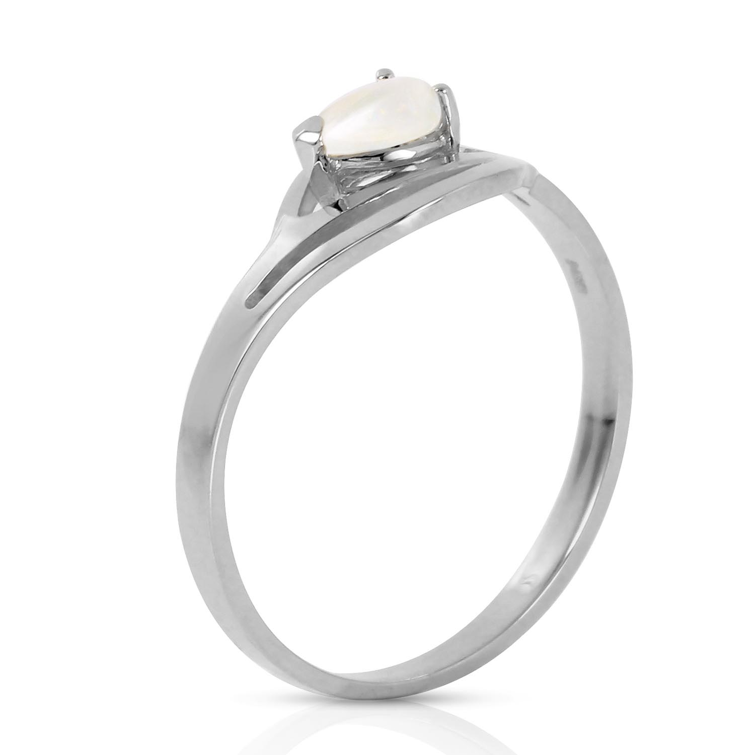 Pear Cut Opal Ring 0.15ct in 14K White Gold