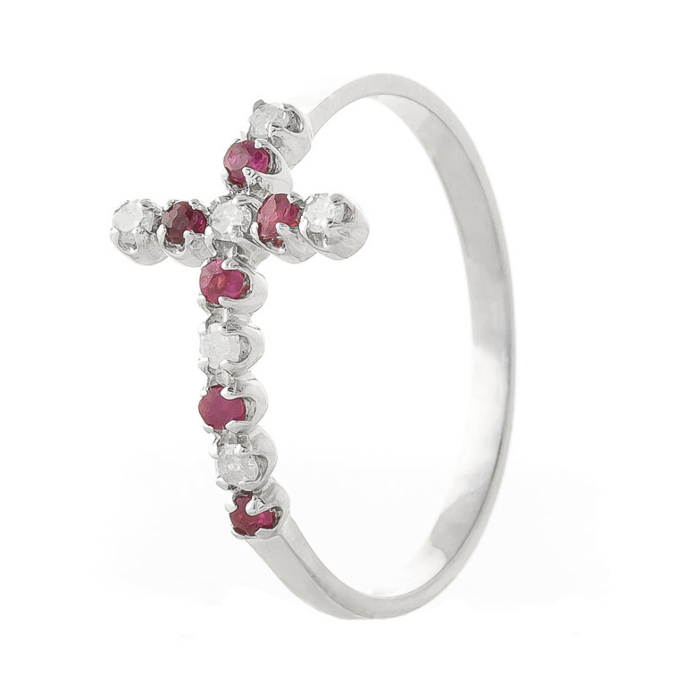Ruby and Diamond Cross Ring 0.15ctw in 9ct White Gold