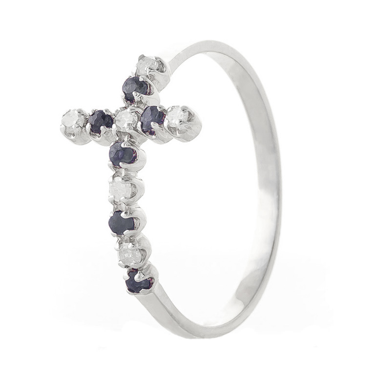 Sapphire and Diamond Cross Ring 0.15ctw in 14K White Gold