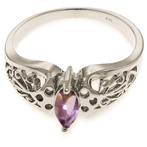 Marquise Cut Amethyst Filigree Ring 0.2ct in 14K White Gold