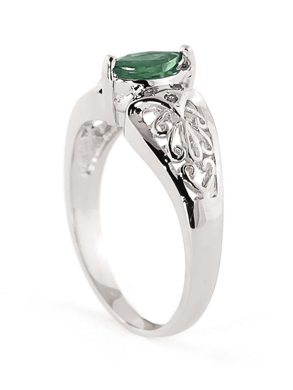 Marquise Cut Emerald Filigree Ring 0.2ct in 14K White Gold