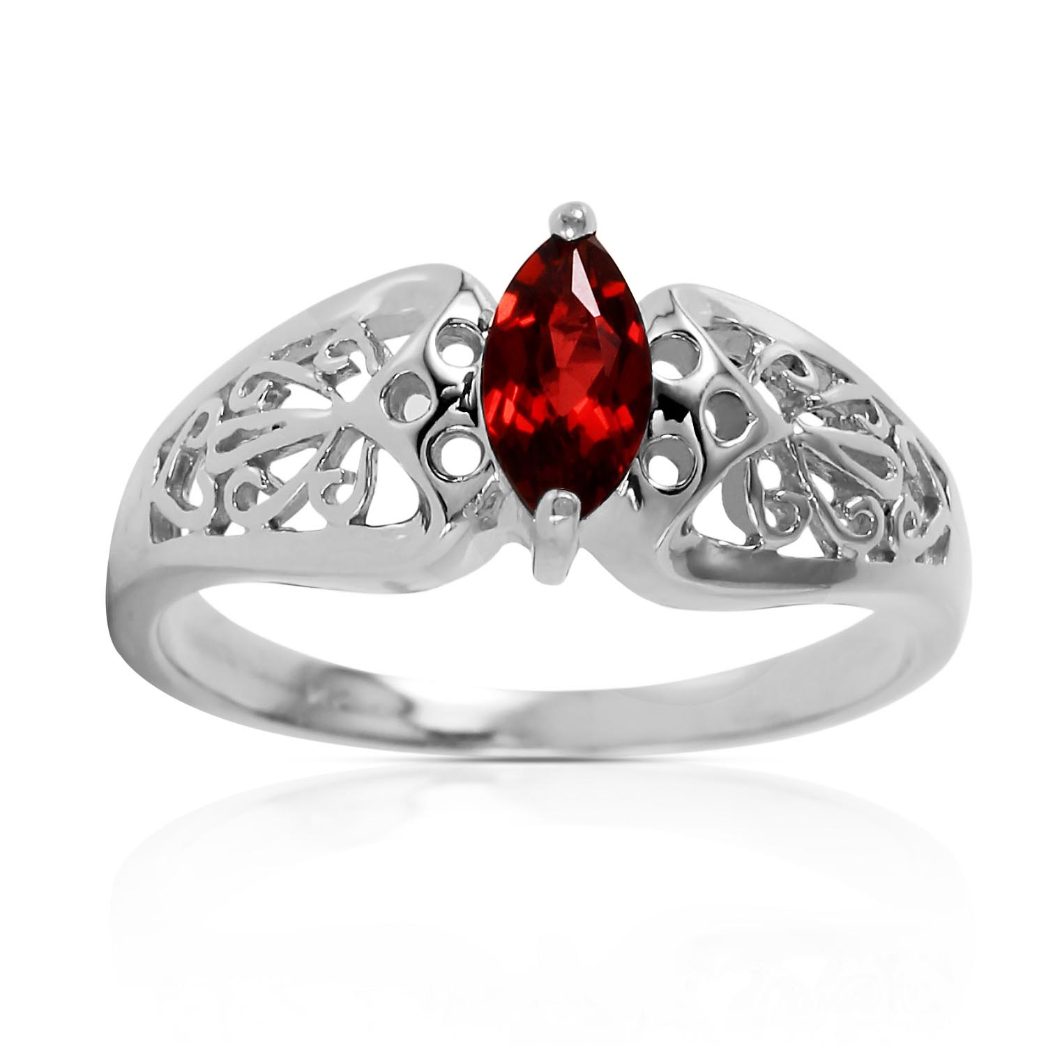 Marquise Cut Garnet Filigree Ring 0.2ct in 14K White Gold