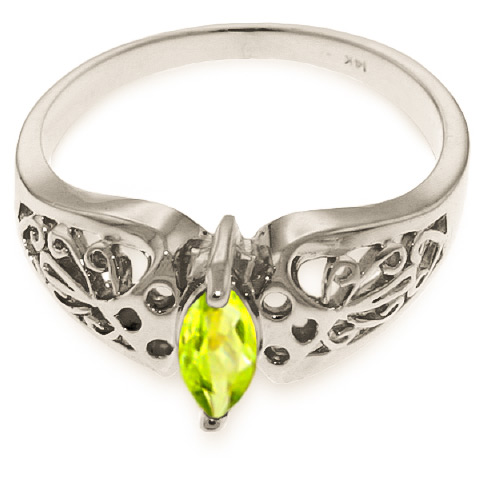 Marquise Cut Peridot Filigree Ring 0.2ct in 14K White Gold