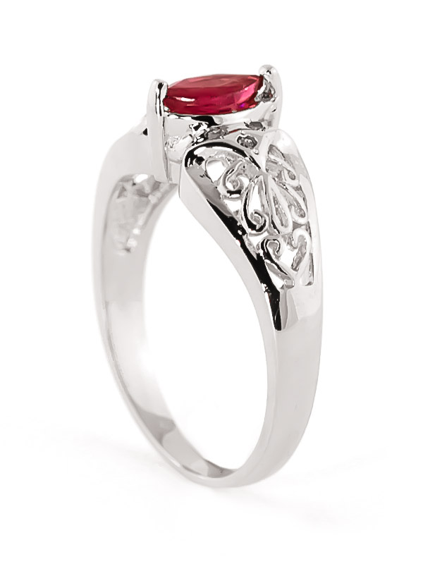 Marquise Cut Ruby Filigree Ring 0.2ct in 14K White Gold