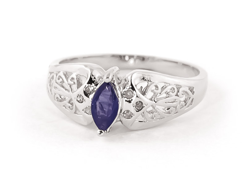 Marquise Cut Sapphire Filigree Ring 0.2ct in 14K White Gold