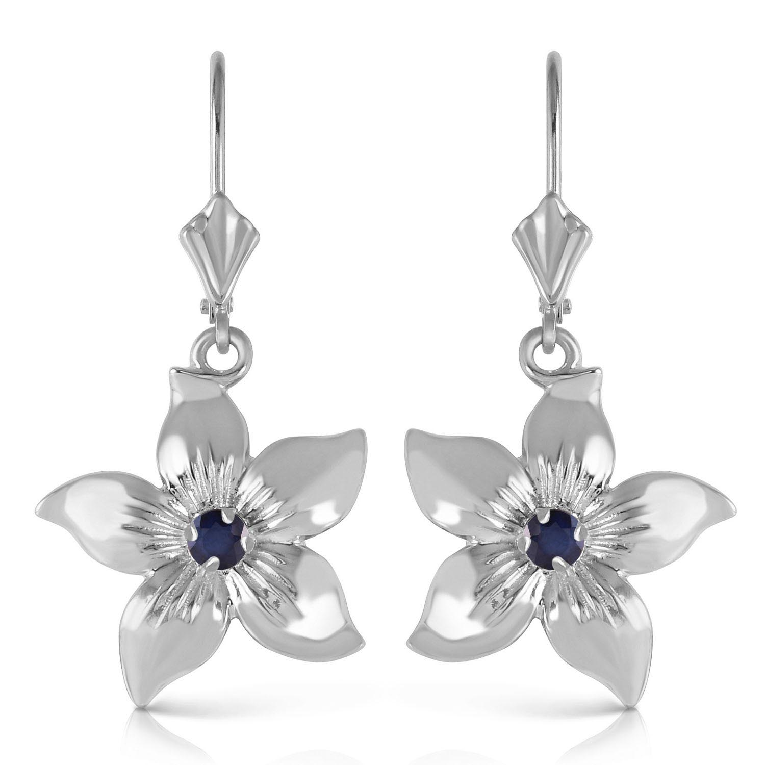 Sapphire Flower Star Drop Earrings 0.2ctw in 14K White Gold