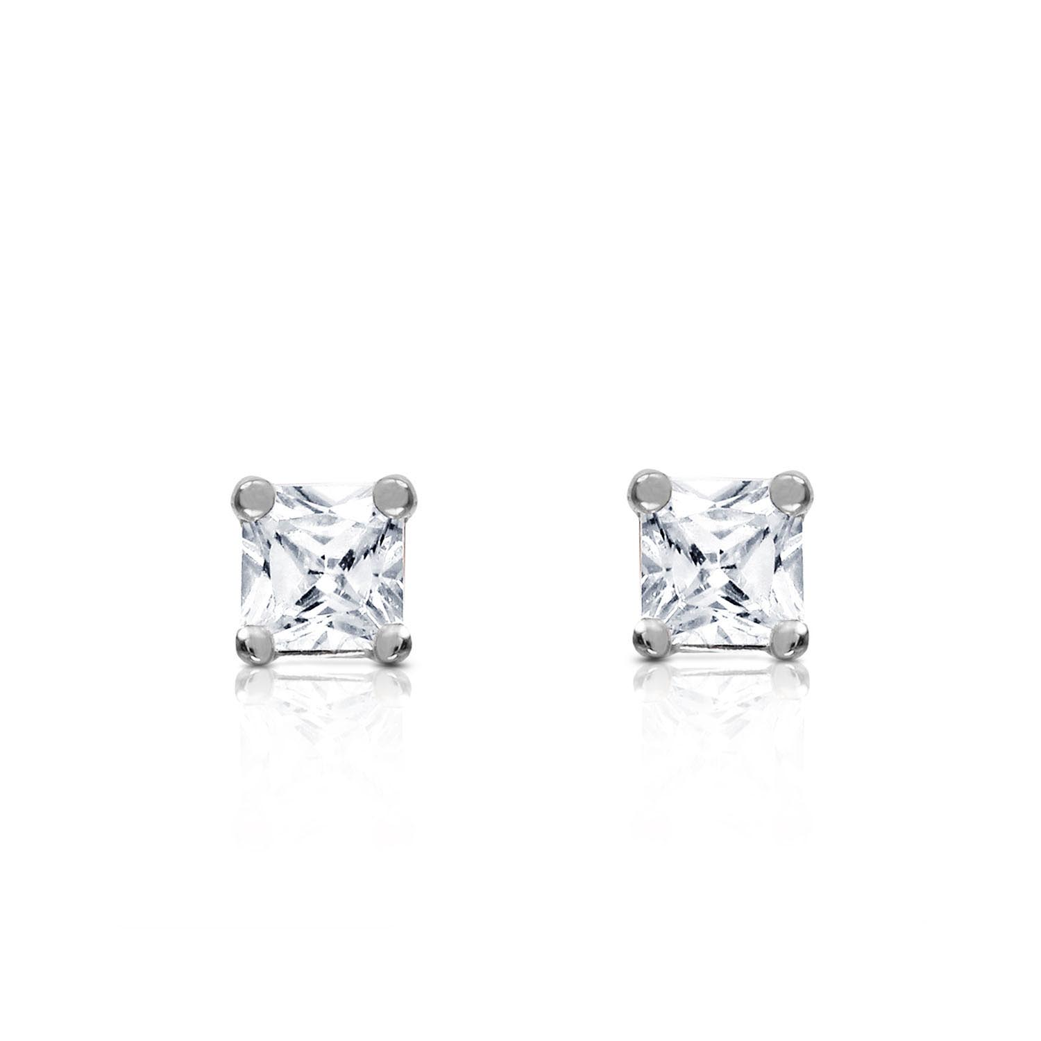 Diamond Stud Earrings in 9ct White Gold
