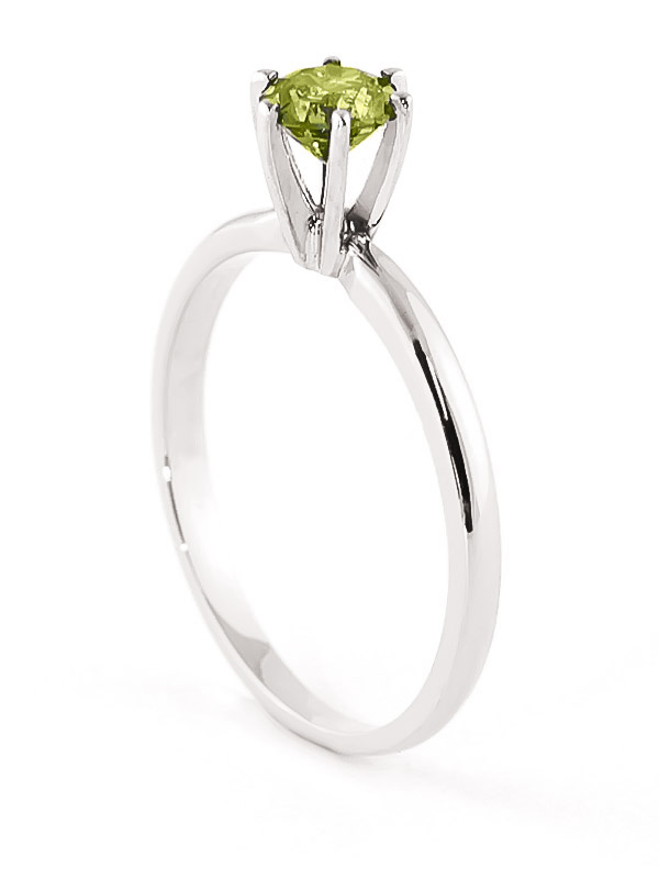 Green Diamond Crown Solitaire Ring in 14K White Gold