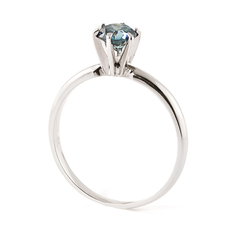 Diamond Crown Solitaire Ring in 14K White Gold