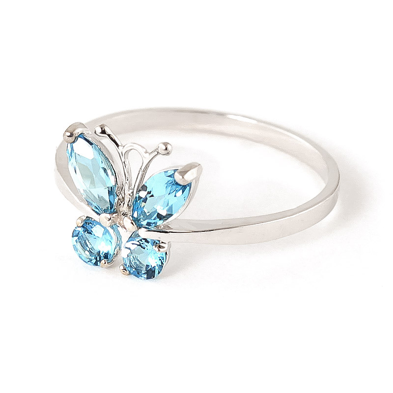 Blue Topaz Butterfly Ring 0.6ctw in 9ct White Gold
