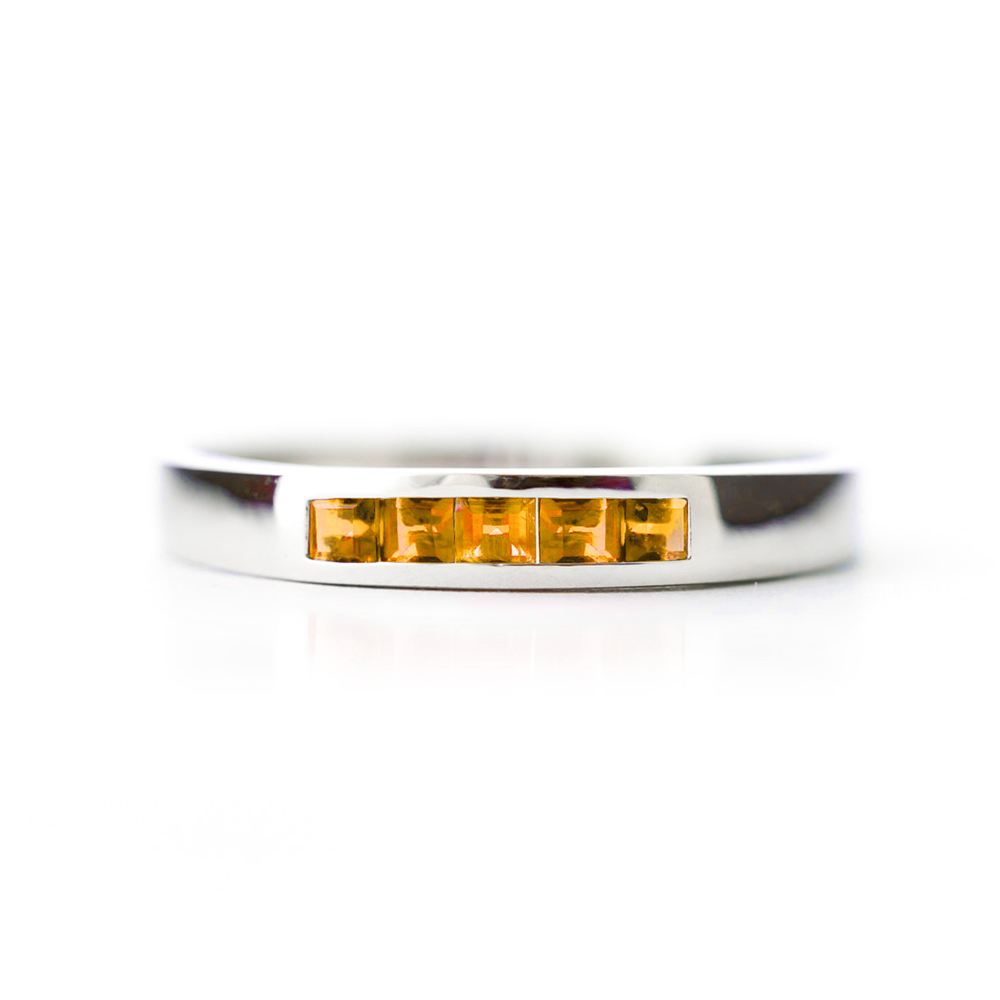 Princess Cut Citrine Ring 0.6ctw in 9ct White Gold