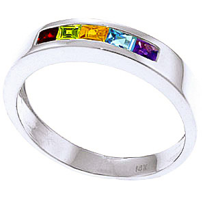 Princess Cut Gemstone Ring 0.6ctw in 9ct White Gold