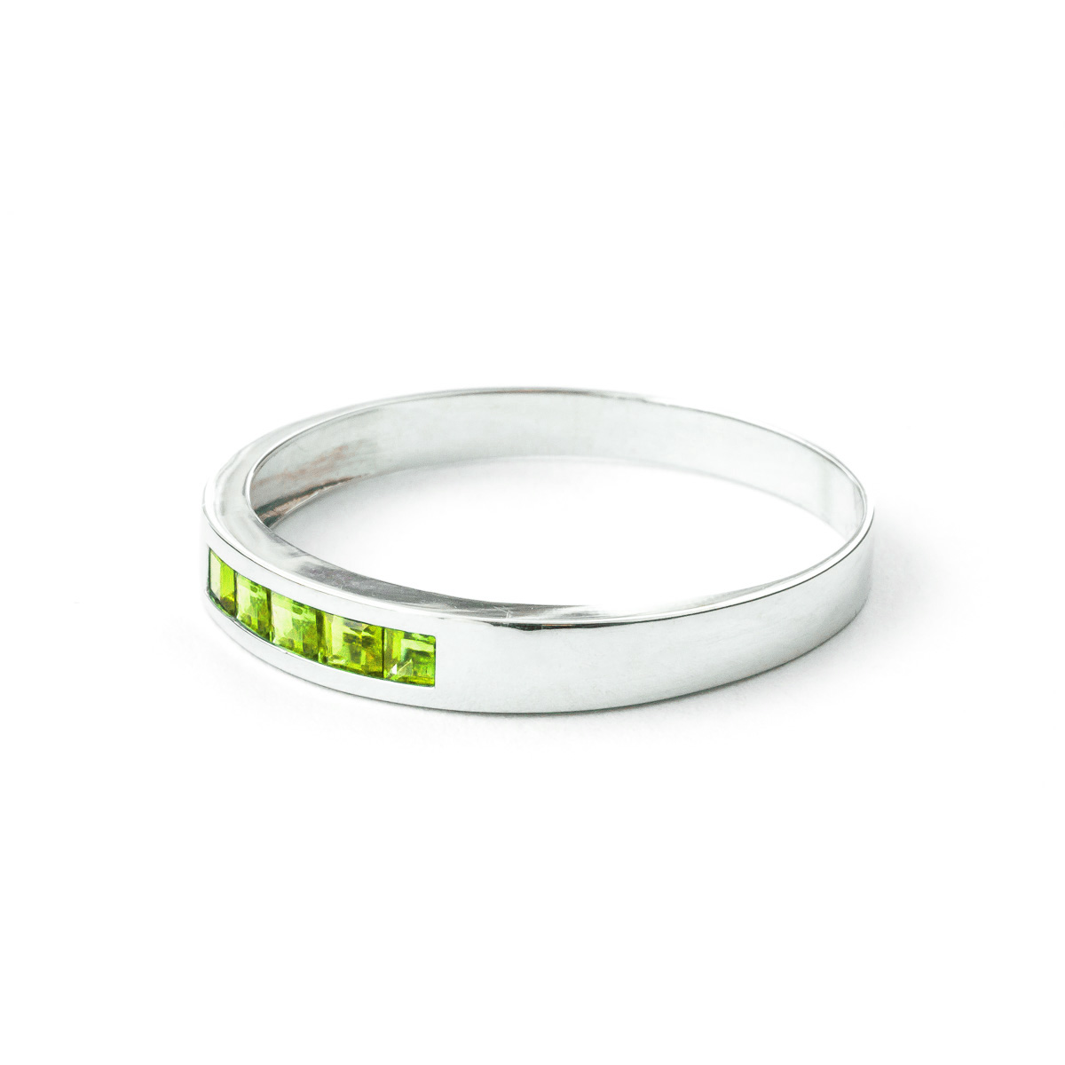 Princess Cut Peridot Ring 0.6ctw in 9ct White Gold