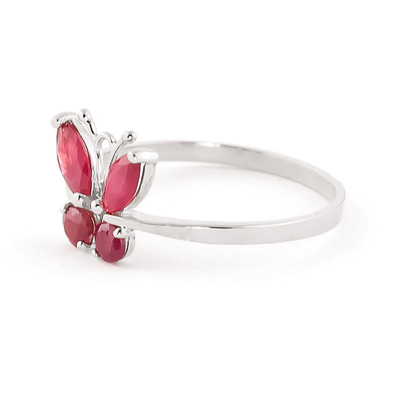 Ruby Butterfly Ring 0.6ctw in 14K White Gold
