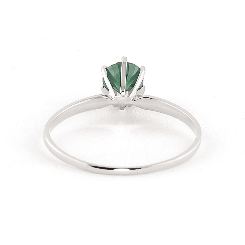 Emerald Crown Solitaire Ring 0.65ct in 14K White Gold