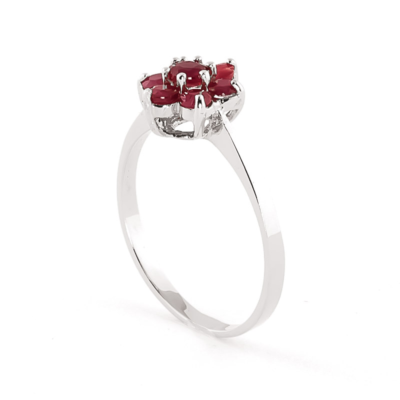 Ruby Wildflower Cluster Ring 0.66ctw in 9ct White Gold