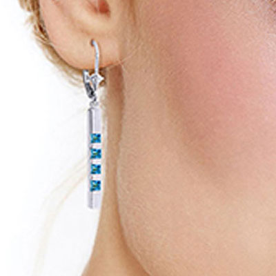 Blue Topaz Bar Drop Earrings 0.7ctw in 9ct White Gold