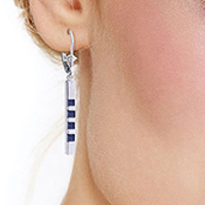 Sapphire Bar Drop Earrings 0.7ctw in 14K White Gold